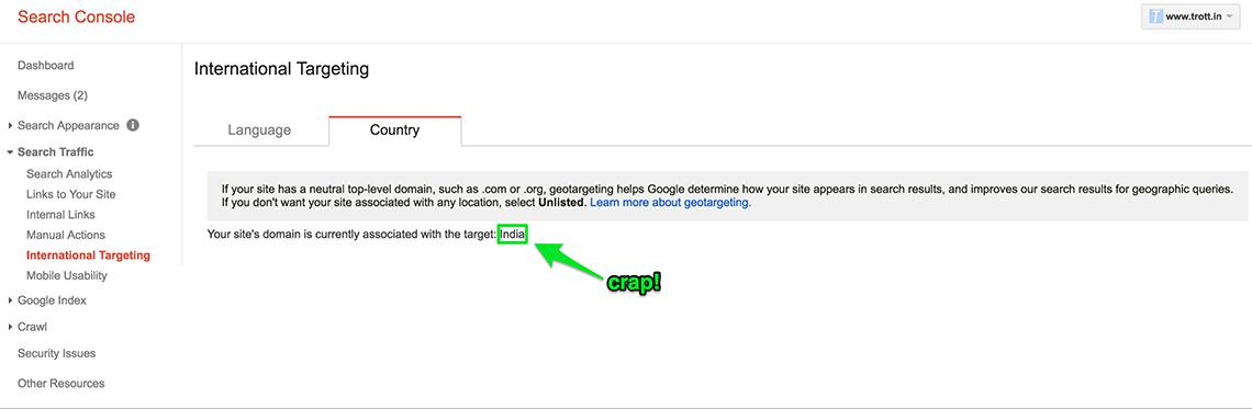Google Search Console offers no geographic targeting option for the Trott.in ccTLD