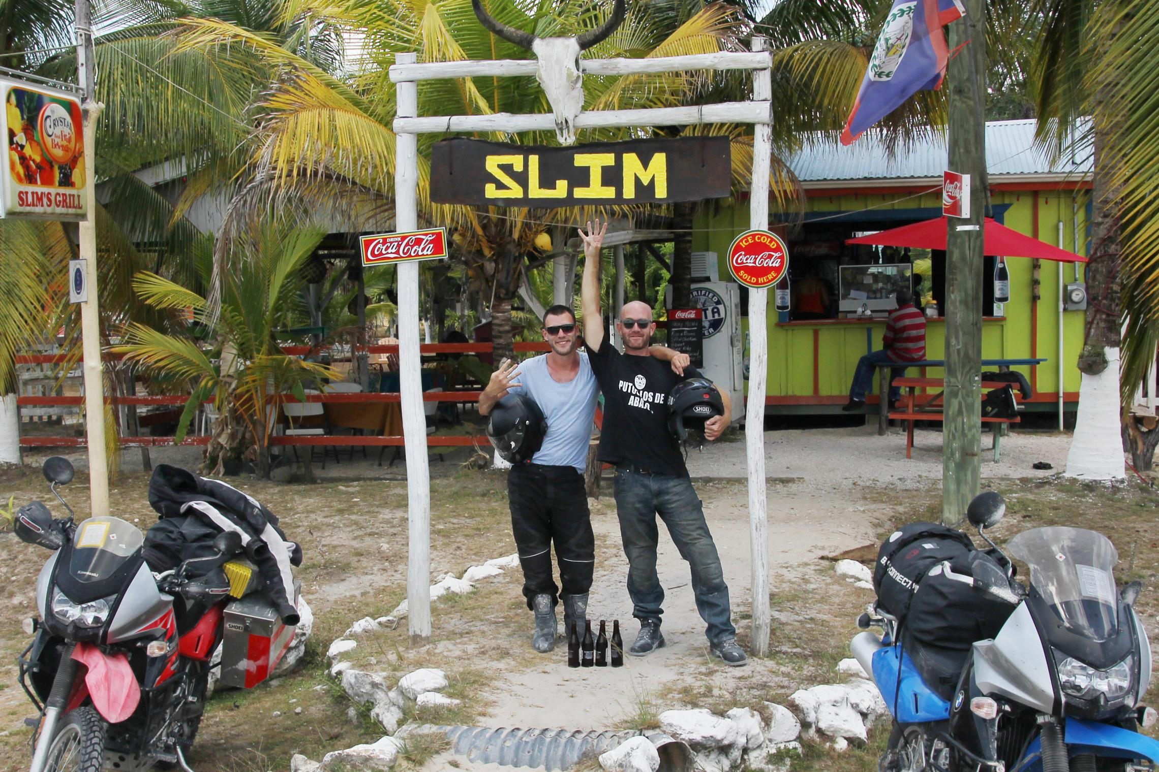 4,000 miles - The road to the Guatemalan border, Belieze -- Outside Slim's, a pitstop for overland travelers